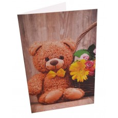 Greeting Card Bear with flowers 10x15 cm