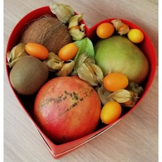 Exotic Fruits in Heart Box (L)