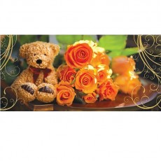 Greeting Card Bear with Roses 10x21 cm