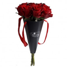 Red roses in stylish cone with ribbons (only in Riga)