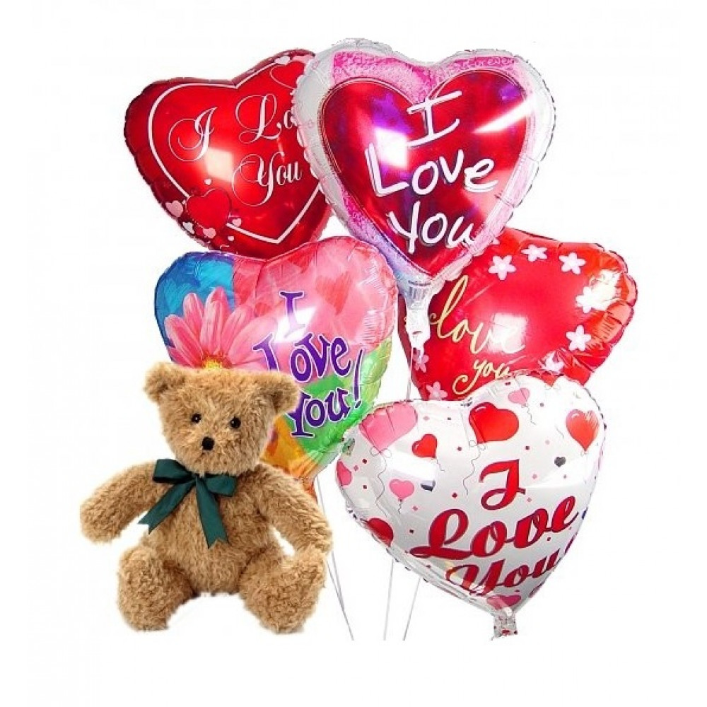 Bear with heart-shaped balloons 5 pcs (only in Riga)