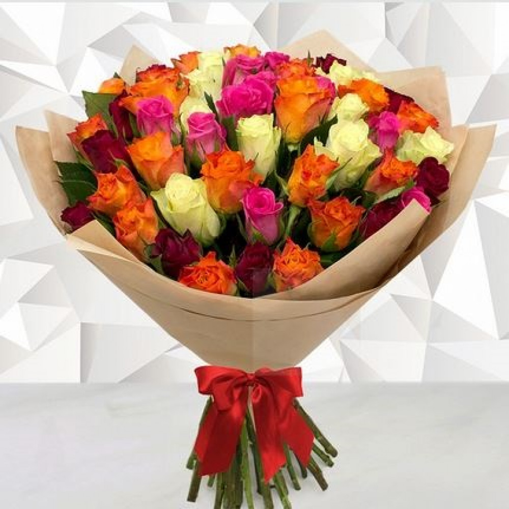 Multicolored roses 40 cm (select the number of flowers)