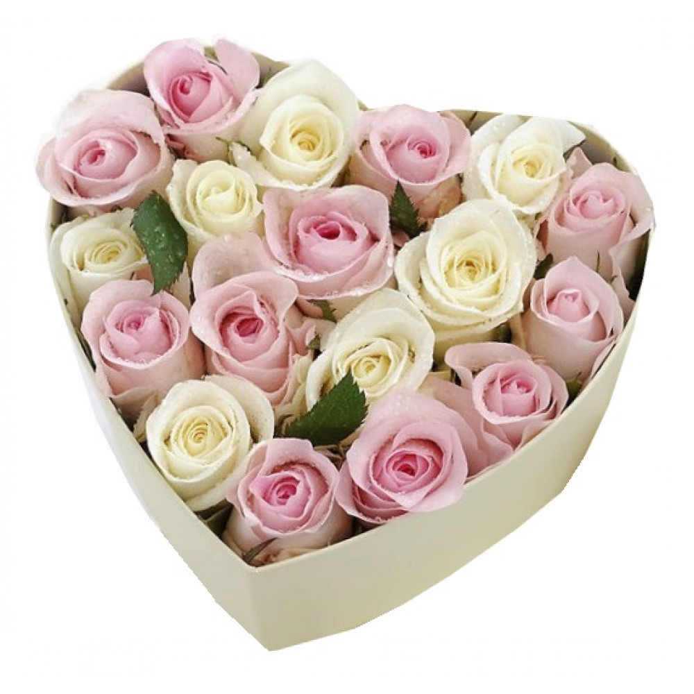White and pink Roses in flowers box herat shape + Delivery