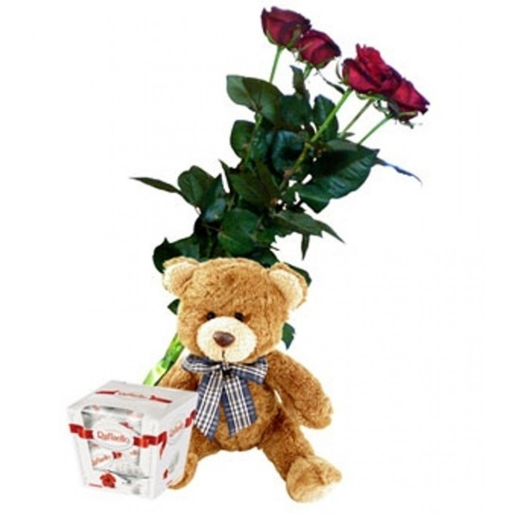 Red roses 60 cm, teddy and Rafaello (only in Riga)