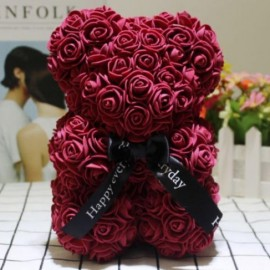3D Rose Teddy WINE RED