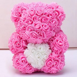 3D Rose Teddy with heart PINK