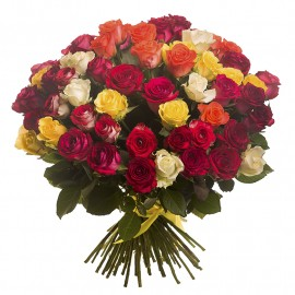 Large multi-colored rose bouquet 50 cm