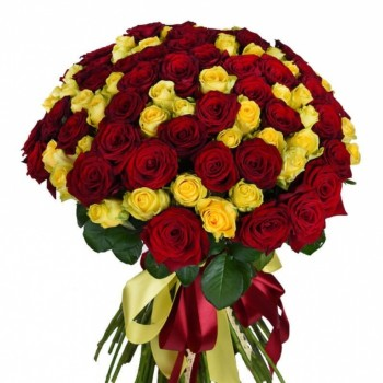 101 yellow and red roses 50 cm