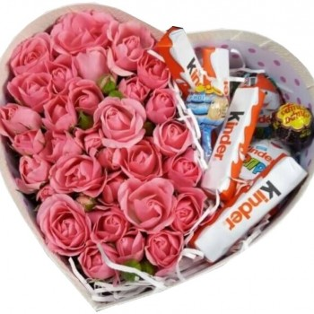 Pink Spray Roses with Sweets in Gift Box. Flower Delivery Latvia