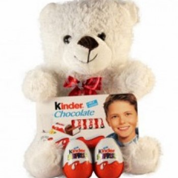Teddy with Kinder chocolates (only in Riga)