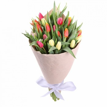 Armful of tulips in a package