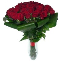 Bouquet of red roses 50 cm with greens