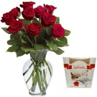Red roses 50 cm and Rafaello (select the number of flowers)