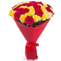 Red and yellow roses 50 cm (select number of roses)